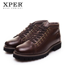 XPER Brand New Genuine Leather Men Boots Fashion Solid Cow Leather Men Winter Shoes Ankle Short Plush Warm Men Shoes XYWD22760(China)