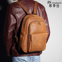 Retro real Leather Backpack men and Women Fashion Leisure Shoulder Baotou Layer of Cowhide Travel bag Women Bag Backpack