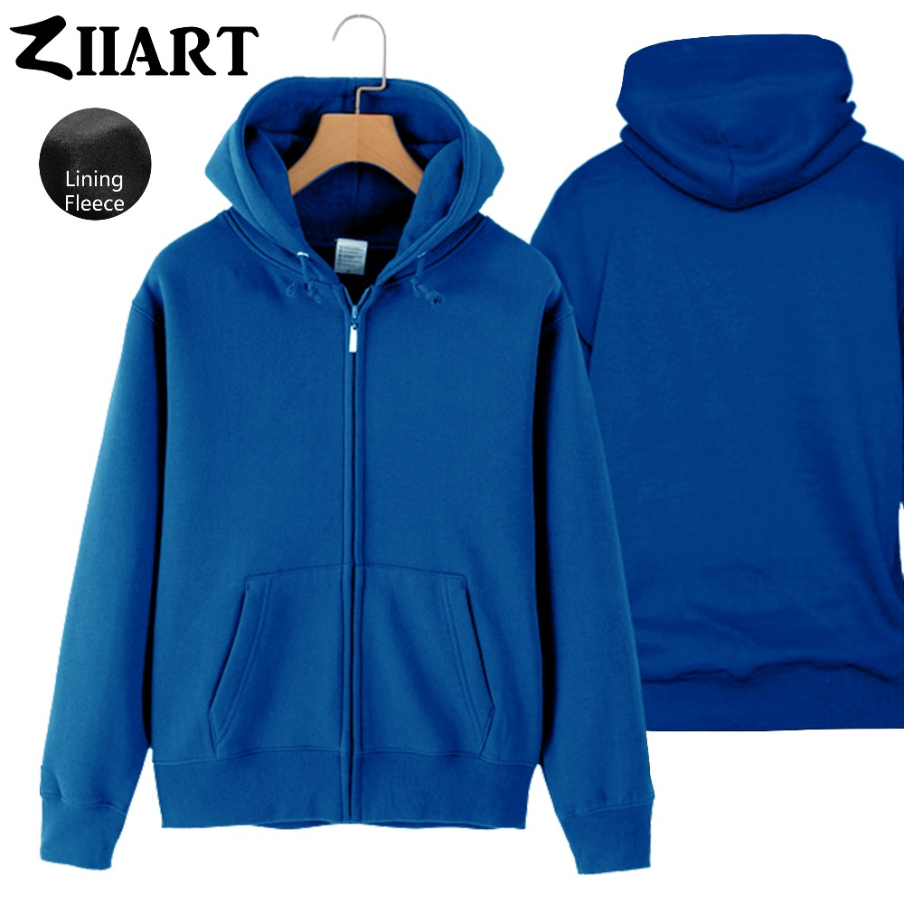 Boys Man Full Zip Fleece Hoodie XXS-4XL Black Gray White Navy Royal Blue Yellow Red Solid Pure Color couple clothes ZIIART