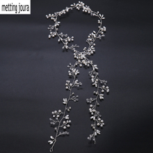 Metting Joura Wedding Bridal Very Long Headband White Beads Pearl Knitted Hair Bands Bridal Flower Hairband For Women(China)