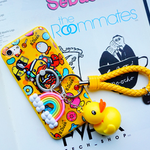 Carton 3D Stitch Doraemon Yellow Duck Case Ring Stand Lanyard Cover For iPhone 5 5s SE 6 6S 7 Plus 7plus Silicon TPU Case