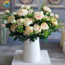 High Quality silk flower European 1 Bouquet Artificial Flowers Fall Vivid Peony Fake Leaf Wedding Home Party Decoration(China)