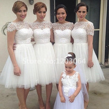 White Tulle Lace Knee length Bridesmaid dresses New arrival Scoop Short sleeve Pretty Romantic 2016 New Wedding party dress
