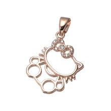 Nice Cute hollow Hello Kitty Pendant fit bracelet necklaces,High Quality Copper micro pave zircon cartoon cat tiny charms