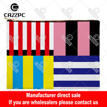 Red Black Yellow Navy Blue Flag Stripe Canvas Pattern Print Cosmetic Bag Makeup Pouch Wristlet Hand Bag(China)