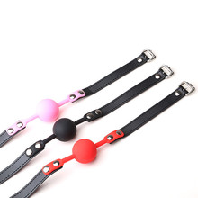 Buy 4 Colors Leather Erotic Silicone Gag Ball Open Mouth BDSM Bondage Fetish Restraints Sex Products Sex Toys Adult Woman Games