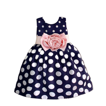 2017 New Toddler Girls Princess Dress Sleeveless Polka Dots Bowknot Kids Dresses For Girls High Quality Flower Girl Dresses