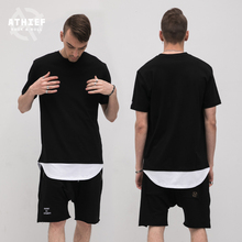 Athief Europe and the United States Fake two pieces T-shirt male Curved hem Short sleeves American style street Leisure Half