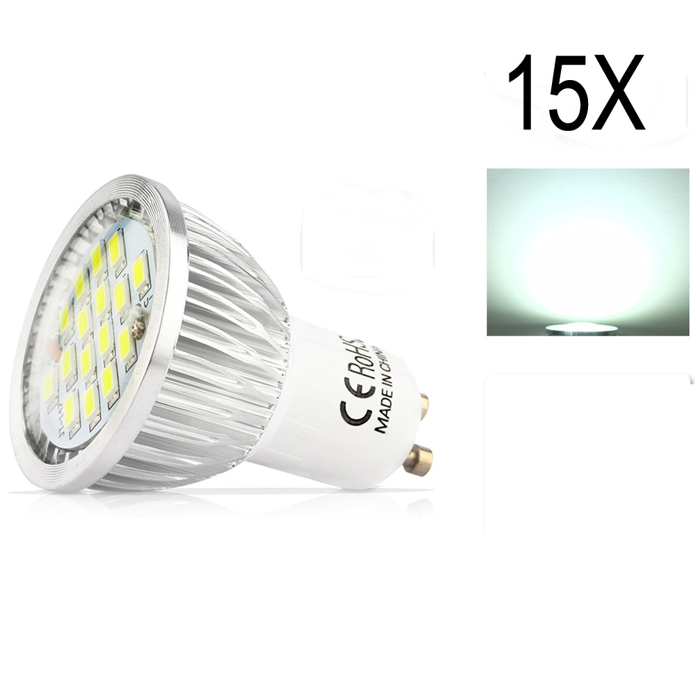 15X GU10 5.5W SMD 5730 High Quality Assurance LED Led Spotlight bulbs Warm White Cold White AC85-265VLED Spot Aluminum lamp cup<br>