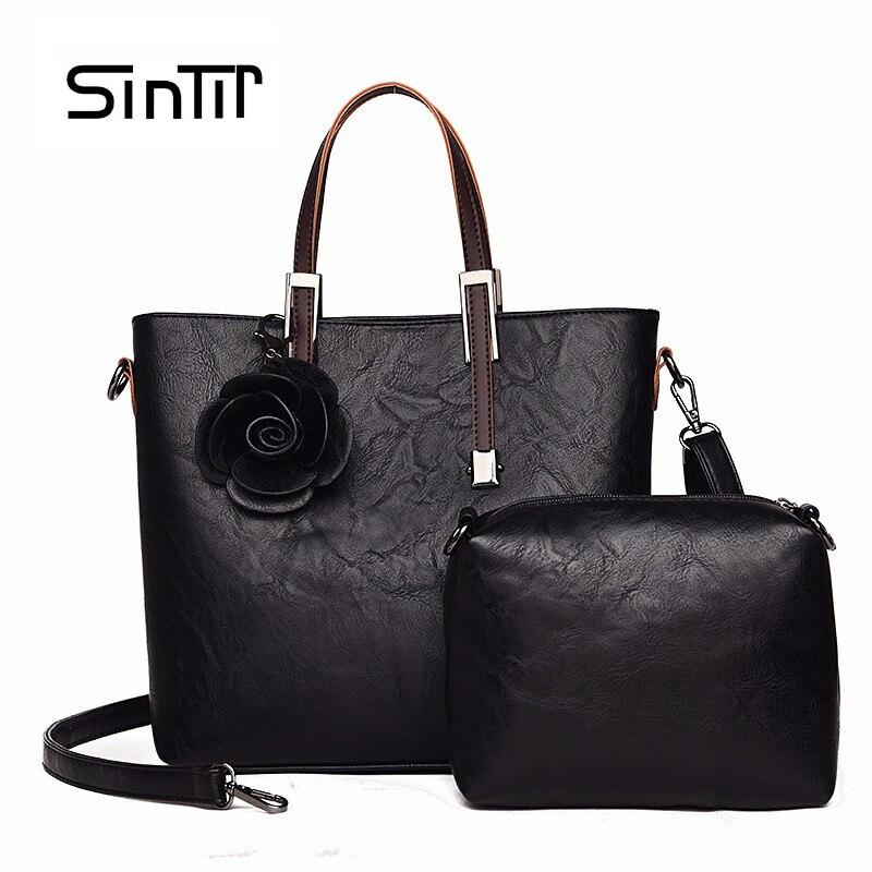 SINTIR 2 Set Women Black Handbags Brand Women Flowers Leather Shoulder Bags Vintage Business Party Casual Big CrossBody Bags sac<br>