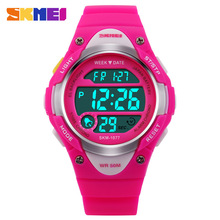 SKMEI Children Watches Cute Kids Watches Sports Cartoon Watch for Girls boys Rubber Children's Digital LED Wristwatches Reloj(China)