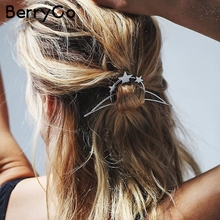 BerryGo Star hairbin geometry chic accessories Vintage women sliver jewerly fashion hairbin 2017 High quality trendy hairwear(China)