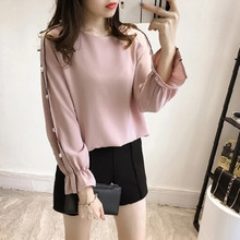 Buy Chiffon Shirt Female Blusa Beaded Tops 2017 Autumn Long Sleeved Solid Color Women Clothing Women Blouse Top Shirt for $6.66 in AliExpress store