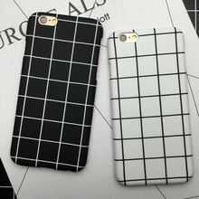 Fashion classic Black and white  Square grid Hard Back Phone Case For iPhone SE   iphone 6S 6 Plus 5 5S Cover Capa Coque