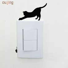 Oujing 14.5 x 11cm New Design Eight Types Black Cat Room Window Wall Decorating Switch Vinyl Decal Sticker Decor Happy Gifts #(China)