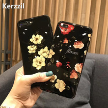 Kerzzil Black Smooth Peach Blossom Flowers Soft Case For iPhone 7 6 6S Plus Phone Silicone Cover Back For iPhone 6 7 6S Coque