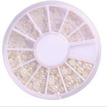 3 Sizes Imitation Pearl Nail Decoration Lovely Mini Nail Art Rhinestone Decoration with Wheel(China)
