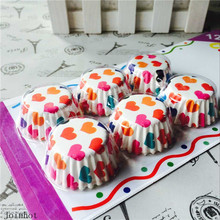 120 pcs/lot super mini paper chocolate mold Cups colorful heart Cupcake Liners Cases paper card packaging