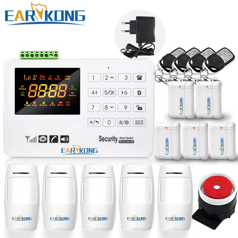 Earykong GSM Alarm System Capacitive Touch Keyboard Color Screen Voice Prompt English Russian Spanish Door Magnet PIR Detector<br>