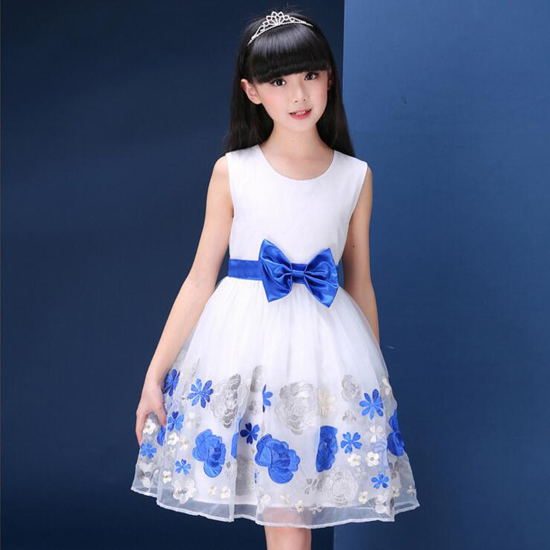 Kids girl dress embrodiery bow sleeveless knee-length ball gown summer dresses<br>