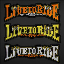 3PCS Embroidered Iron on Motorcycle Patches Harley Live To Ride MC Motorcycle Jacket Patch Back Patches for Jackets LSHB376(China)