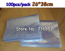 100Pcs/Lot 26*38cm Heat Shrinkable PVC Transparent Bag Package Blow Molding Film Wrap Materials For Shrink Packaging Products