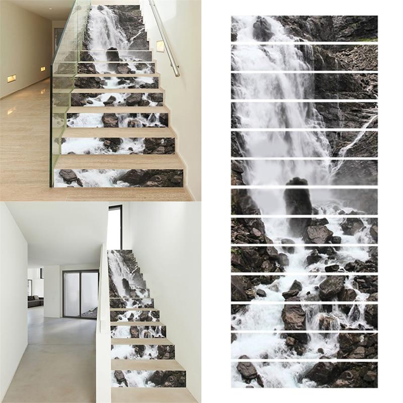 mayitr 13pcs 3d diy waterfall stair stickers rivers mural theme