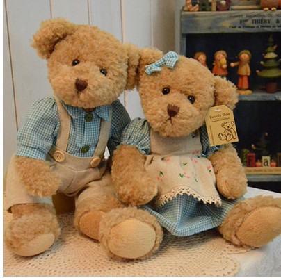 26cm 2 pieces couple teddy bear with cloth plush bear toy high quality valentine gift Ffree shipping<br>