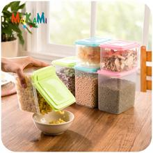 Kitchen Half Flip Food Storage Box Storage Tank Airtight Plastic Containers Sealed Cans For Coarse Cereals Grains(China)
