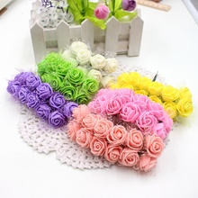 12pcs Foam Lace Rose Handmake Artificial Flower Bouquet For Wedding Decoration DIY Scrapbooking Decorative Wreath Fake Flowers