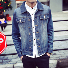 men denim jacket brand clothing 100%cotton casual mens jean jacket dark blue coat male Autumn Spring Pockets jeanswear MQ455