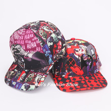 Suicide Squad Harley Quinn Joker Hat Fashion Adjustable Baseball Cap Flat Snapback Hat Man Women Hip Hop Caps for Christmas gift(China)