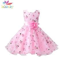 Belababy Floral Christmas Dress For Girl Child Kids Summer Flower Dress Wedding Party Girls Pink Princess vestidos nina Sashes