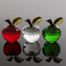 Beautiful 40mm 3D Crystal Paperweights Glaze for Apple Figurine Ornaments Glass Crafts Home Desktop Decor Wedding Birthday Gifts