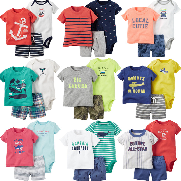 Summer boys childrens casual plaid pants cartoon handsome T-shirt + short pants + pp pants 3-piece short-sleeved dress set new<br>