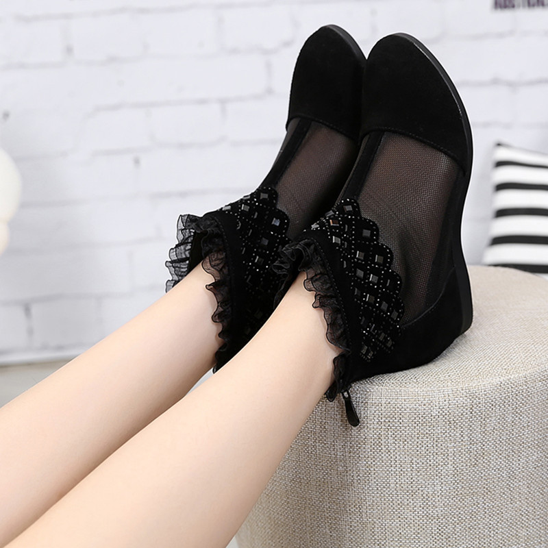 Big Size 35-43 Genuine Leather Flats Shoes Woman Transparent Fashion Increased Internal Walking Shoe For Women Lace Patchwork<br>