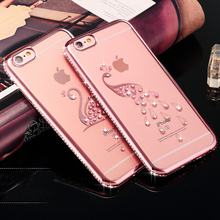 For iPhone 5 6 6S/ 6S Plus/ 7 Plus Luxury Bling Rhinestone Case Glitter TPU Diamond Soft Silicone Cover Gold Pink Phone Shell