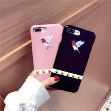 Big Rivet Cute Embroidery Bird Case Cover For Apple iPhone 7 7 Plus 6 6S Plus Case Silicone 7 Series Retro Luxury Case For Phone