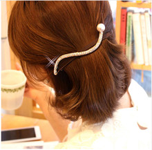 1PC Korean Style S Shaped Wave Pattern Hairgrip Rhinestones Pearl Pin Spring Barrette Female Hairpins Hair Accessories For Women(China)