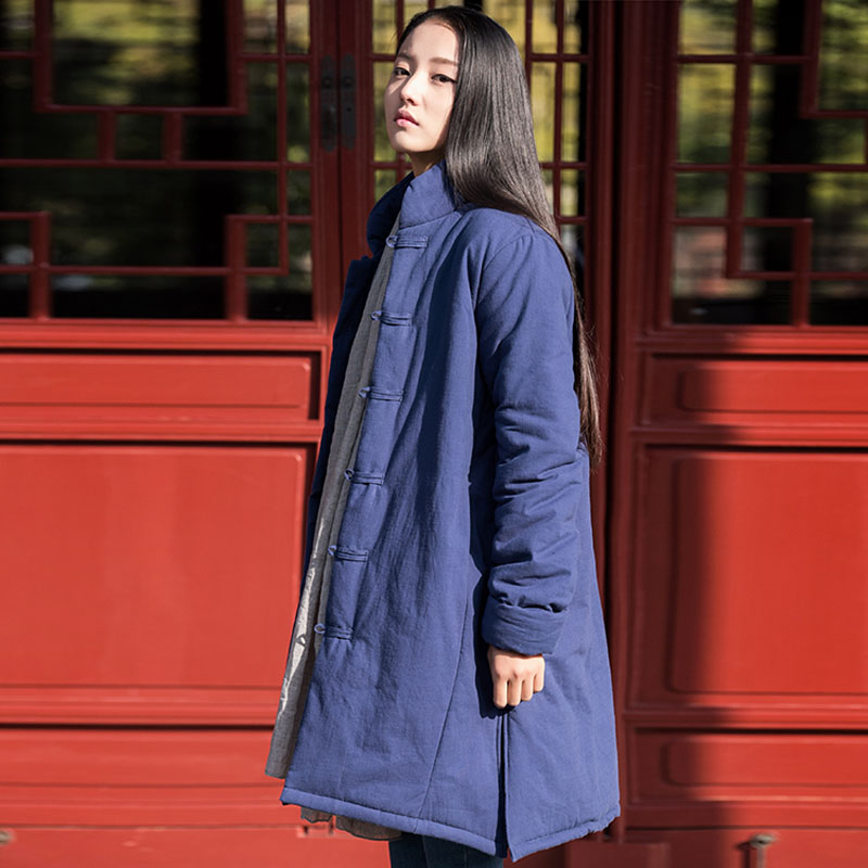 2017 New Vintage womens outerwear winter tops 100% cotton-padded jacket medium-long  chinese style wadded coat Îäåæäà è àêñåññóàðû<br><br>