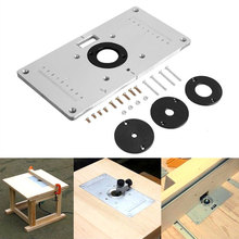 Router Table Insert Plate Woodworking Benches Aluminium Wood Router Trimmer Models Engraving Machine with 4 Rings Tools(China)