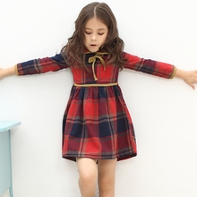 Foreign Trade 2017 Spring Fall Girls Long Sleeve Cotton Plaid Dress Children Clothing One Piece Kids Cute Princess Dresses G760