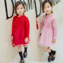 Chinese Red Flower Lace Cheongsam Girls Dresses Long-sleeved Princess Dress Girl Cute Children