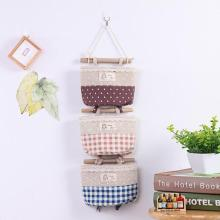 Zakka Style Cartoon Door Hanging Bag Cotton Hanging Organizer Wall Pockets Window Stationery Cosmetics Storage Bag