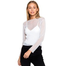 Women Sheer Mesh Tops Ruffled Long Sleeve Crop Tops See Through T-shirts(China)
