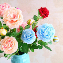 40pcs Single European Peony Flower (3 heads/piece) Fake Peony Cream/blue/pink/red for Wedding Home Decorative Artificial Flowers(China)