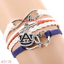 Infinity Love Auburn Tigers College Football Team Bracelet 2016 New Leather Bracelet Fans Jewelry 6Pcs/Lot ! Free Shipping!(China)