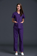 Medical Special Offer Woven Scrubs Women 2016 New Women's Short Sleeve Scrub Uniforms Set Dental Hospital Clothes 100% Cotton(China)