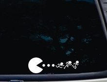 Car Styling Pac-Man Chasing Stick Figure Family Die Cut Vinyl Decal for Windows, Cars, Trucks, Tool Boxes, Laptops, Mac Book(China)