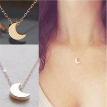 Minimalist Crescent Moon Silver Gold color Long Necklace Women Jewelry Solid Chain Pendant Necklace